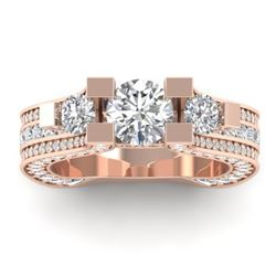 5.5 CTW Certified VS/SI Diamond Art Deco 3 Stone Micro Ring 14K Rose Gold - REF-638A9X - 30295