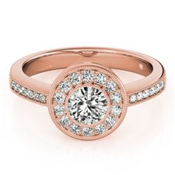 0.8 CTW Certified VS/SI Diamond Solitaire Halo Ring 18K Rose Gold - REF-130N4Y - 26902