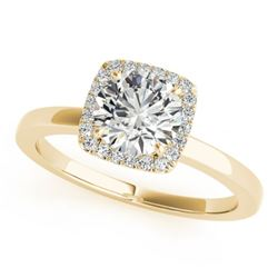 0.9 CTW Certified VS/SI Diamond Solitaire Halo Ring 18K Yellow Gold - REF-199H8A - 26277