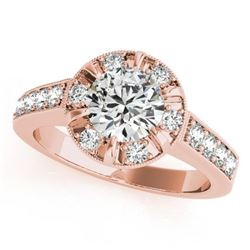2 CTW Certified VS/SI Diamond Solitaire Halo Ring 18K Rose Gold - REF-471F5N - 27040