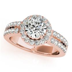 1.5 CTW Certified VS/SI Diamond Solitaire Halo Ring 18K Rose Gold - REF-423W6F - 26740