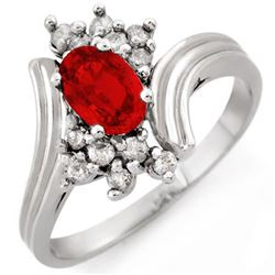 1.0 CTW Red Sapphire & Diamond Ring 10K White Gold - REF-27A8X - 10528