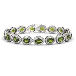 16.93 CTW Tourmaline & Diamond Halo Bracelet 10K White Gold - REF-365Y8K - 41111