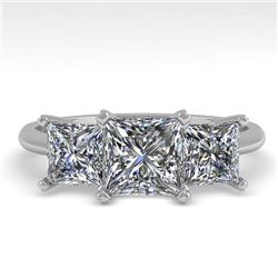 2.0 CTW Princess VS/SI Diamond 3 Stone Designer Ring 18K White Gold - REF-390K2W - 32472