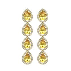 7.48 CTW Fancy Citrine & Diamond Halo Earrings 10K Yellow Gold - REF-136A9X - 41182