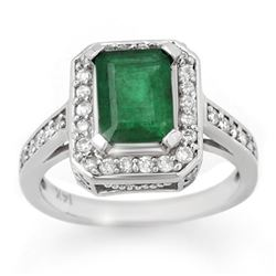2.0 CTW Emerald & Diamond Ring 14K White Gold - REF-62A9X - 10712