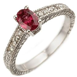 0.66 CTW Pink Tourmaline & Diamond Ring 10K White Gold - REF-27X5T - 10864