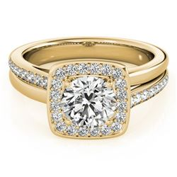 1.33 CTW Certified VS/SI Diamond Solitaire Halo Ring 18K Yellow Gold - REF-395K5W - 26843