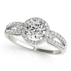 1.25 CTW Certified VS/SI Diamond Solitaire Halo Ring 18K White Gold - REF-303H2A - 26808