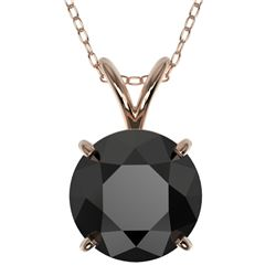 2.09 CTW Fancy Black VS Diamond Solitaire Necklace 10K Rose Gold - REF-44Y5K - 36812