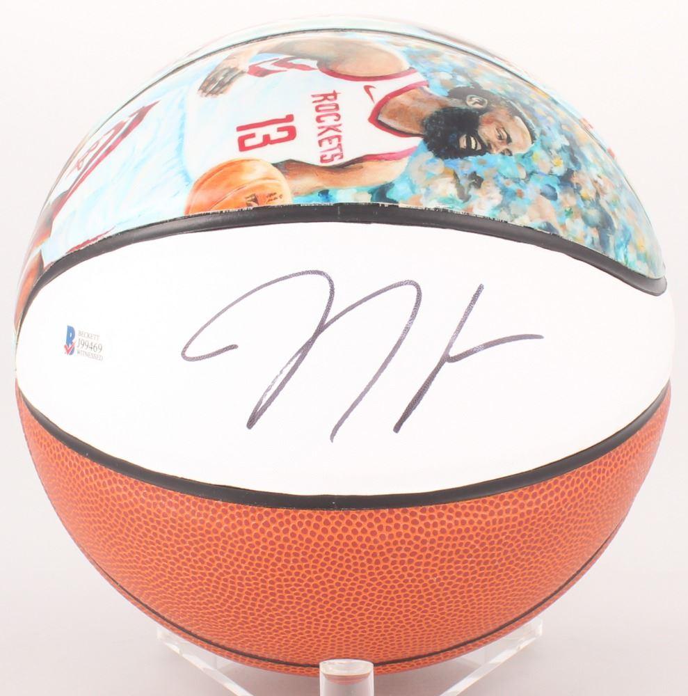 bbe6c1f7 Image 1 : JAMES HARDEN SIGNED 2018 NBA MVP HOUSTON ROCKETS BASKETBALL W/  COA ...