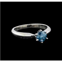 14KT White Gold 0.67 ctw Round Cut Fancy Blue Diamond Solitaire Ring
