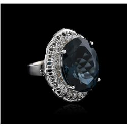 14KT White Gold 20.83 ctw Topaz and Diamond Ring