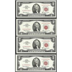 Lot of (4) 1963 $2 Legal Tender Notes