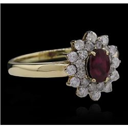 0.79 ctw Ruby and Diamond Ring - 14KT Yellow Gold