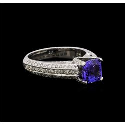 18KT White Gold 1.53 ctw Tanzanite and Diamond Ring