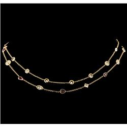 3.82 ctw Ruby and Diamond Necklace - 18KT Rose Gold