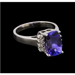 3.54 ctw Tanzanite and Diamond Ring - 14KT White Gold