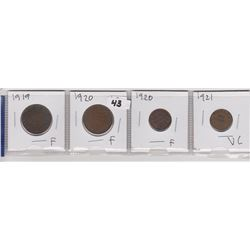 4 CNDN PENNIES 2 LRG 1919 & 1920, 2 SM 1919 & 1920
