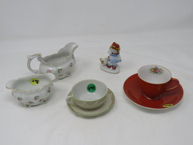 LOT OF MADE IN OCCUPIED JAPAN MINI 2 CUPS/SAUCERS, CREAMER, SUGAR BOWL,  SMALL FIGURINE