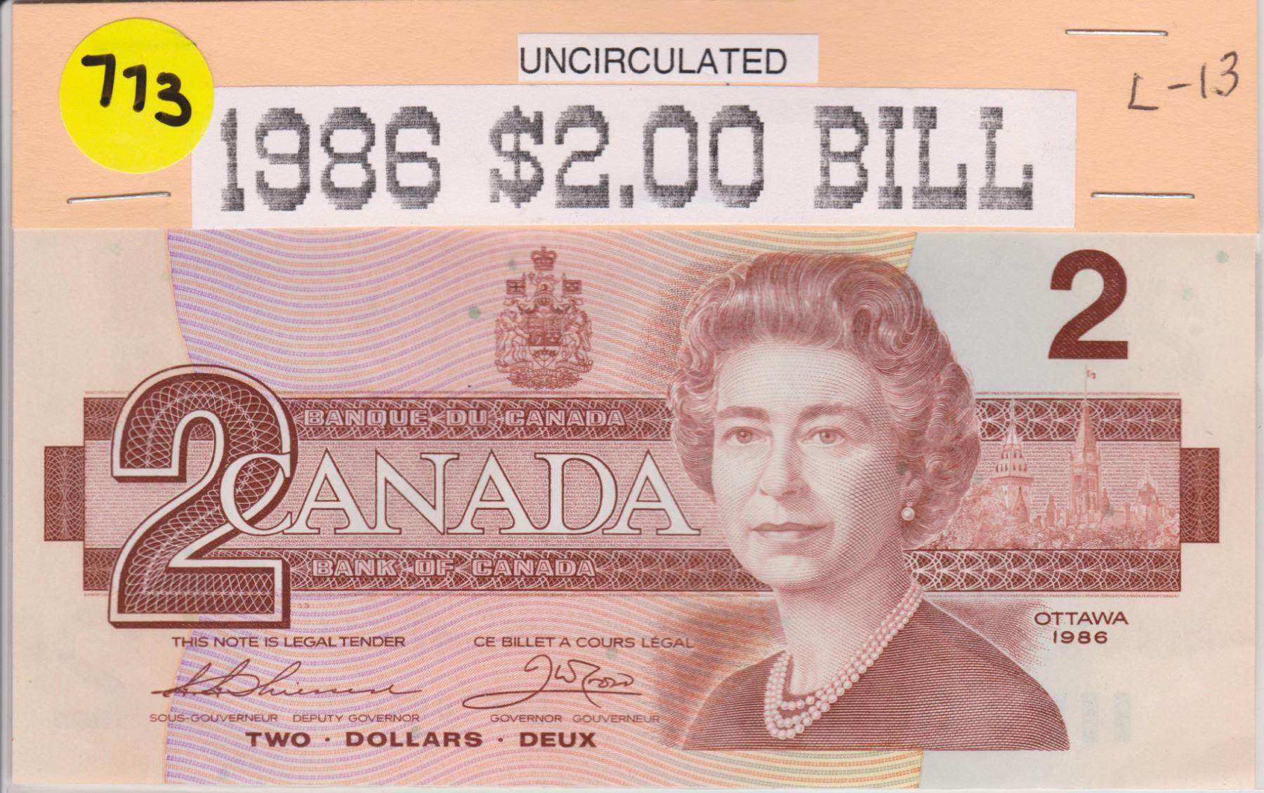 1986 CNDN 2 DOLLAR BILL, UNCIRC