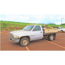 2001 Dodge 2500 3/4 Ton Flatbed Truck, Compressor, Bed-Mounted Diesel Tank, 117,288 miles