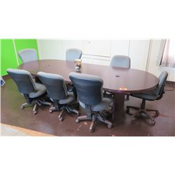 Wooden Oval Conference Table w/ 7 Rolling Office Chairs (other location, removal by appointment)