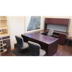 4-Piece Desk Ensemble (U-Shape Cofiguration) w/ 3 Chairs  (other location, removal by appointment)