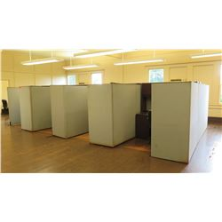 8-Segment Cubicle System w/ Walls, Desks, Chairs (other location, removal by appointment)