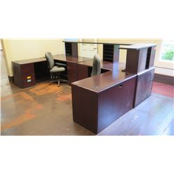 Multi-Section Modular Reception Desk Ensemble w/ 2 Chairs