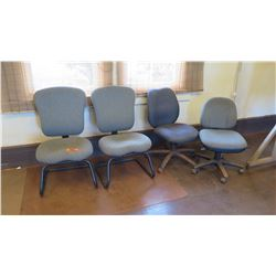 Qty 4 Office Chairs (2 w/ Wheels)  (other location, removal by appointment)