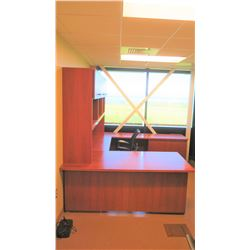 "U-Shape 4-Piece Desk Ensemble w/Chair (6' x 3', 7'11"" x 2', 4' x 1'11, shelving 8'x1'4x4'4)"