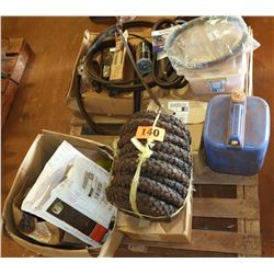 Contents of Pallet: Misc. Parts, Tires, Belts