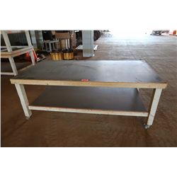 Large Wooden Work Table w/ Wheels