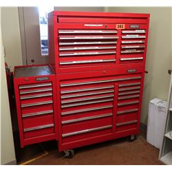 Large Proto Rolling Tool Cabinet (approx. 5' Tall) w/ Misc. Tools