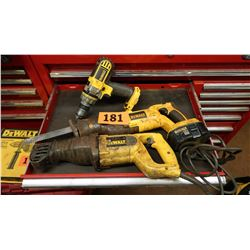 Qty 3 Dewalt Power Tools: Drill, Reciprocating Saw