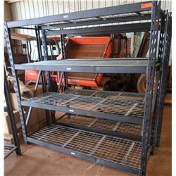 Heavy Duty 4-Shelf Industrial Shelving Unit, Metal Frame, Approx. 5 1/2' Tall