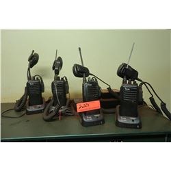 Qty 4 iCom Handheld Communication Radios w/Handheld Mics & Chargers