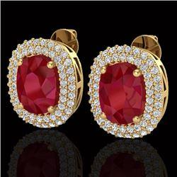 6.30 CTW Ruby & Micro Pave VS/SI Diamond Halo Earrings 18K Yellow Gold - REF-160X9T - 20125