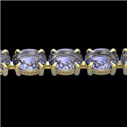 24 CTW Tanzanite Eternity Designer Inspired Tennis Bracelet 14K Yellow Gold - REF-218K2W - 23397