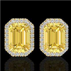 8.40 CTW Citrine & Micro Pave VS/SI Diamond Halo Earrings 18K Yellow Gold - REF-73Y3K - 21223