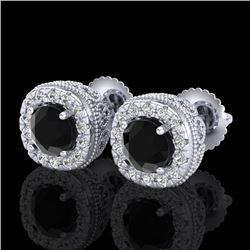 1.69 CTW Fancy Black Diamond Solitaire Art Deco Stud Earrings 18K White Gold - REF-121Y8K - 37989