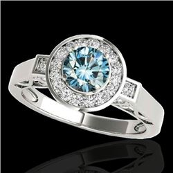 1.5 CTW Si Certified Fancy Blue Diamond Solitaire Halo Ring 10K White Gold - REF-180K2W - 34572