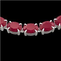 68 CTW Ruby Eternity Designer Inspired Tennis Necklace 14K White Gold - REF-234X9T - 23407