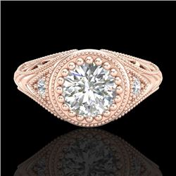 1.07 CTW VS/SI Diamond Solitaire Art Deco Ring 18K Rose Gold - REF-321N2Y - 36885