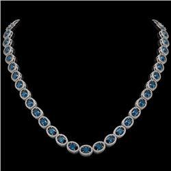 33.25 CTW London Topaz & Diamond Halo Necklace 10K White Gold - REF-511X3T - 40436