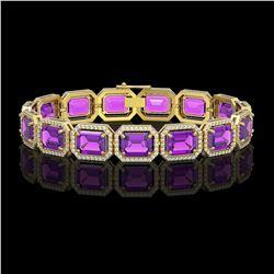 34.86 CTW Amethyst & Diamond Halo Bracelet 10K Yellow Gold - REF-324A9X - 41563