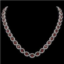 50.08 CTW Garnet & Diamond Halo Necklace 10K White Gold - REF-555K6W - 40598