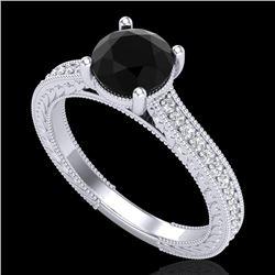 1.45 CTW Fancy Black Diamond Solitaire Engagement Art Deco Ring 18K White Gold - REF-109N3Y - 37751