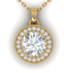 0.96 CTW Certified VS/SI Diamond Art Deco Micro Halo Necklace 14K Yellow Gold - REF-170K4W - 30359